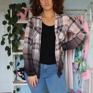 Knox Rose Pink and Black Ombré Plaid Flannel Shirt